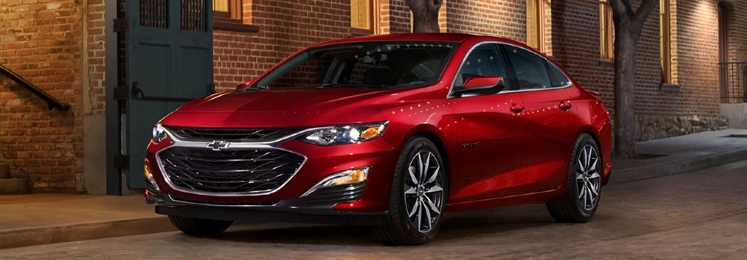 Front driver angle of a red 2020 Chevrolet Malibu