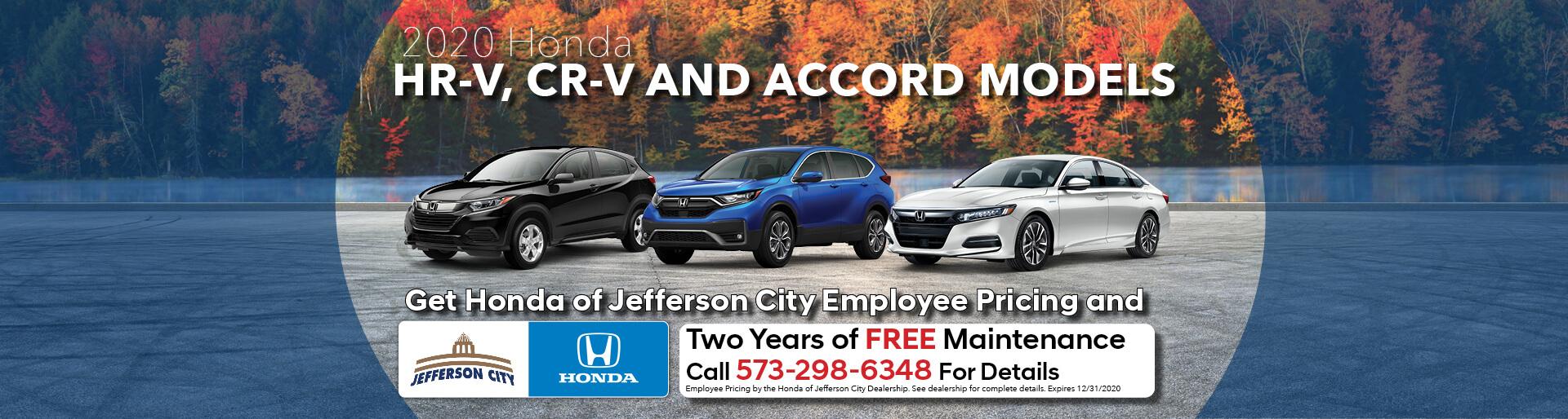 Get employee pricing on 2020 Honda HR-V, CR-V, & Accord Models | Jefferson City, MO