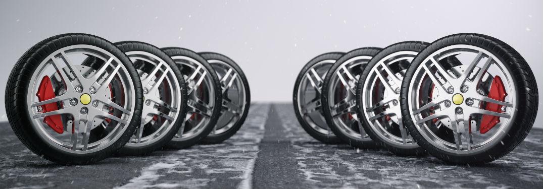 two rows of tires lining up diagonally inward
