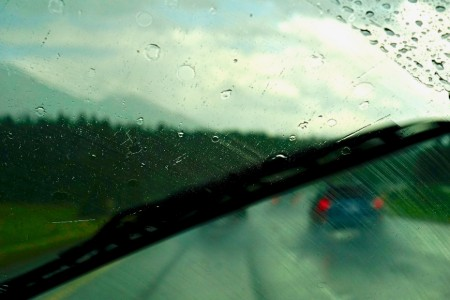 Driver's perspective of a streaking windshield wiper