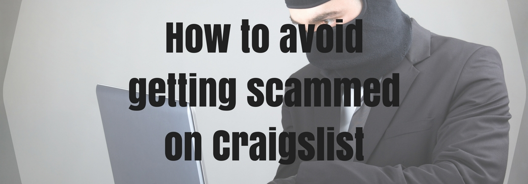 man in suit with a robbers hat on computer how to avoid getting scammed on craigslist text overlay