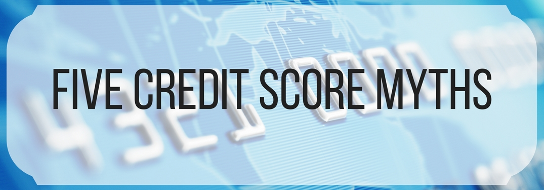 credit card with five credit score myths text overlay
