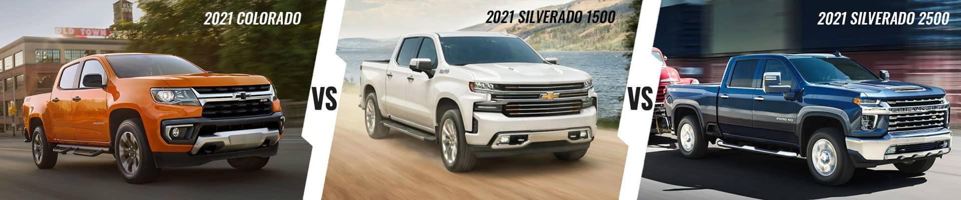 Chevy truck Comparison: 2021 Chevrolet Colorado Vs 2021 Chevrolet Silverado 1500 Vs 2021 Chevrolet Silverado 2500HD