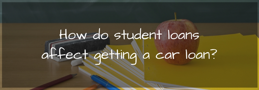 notebooks, pencil and an apple on a desk with overlaid text how do student loans affect getting a car loan