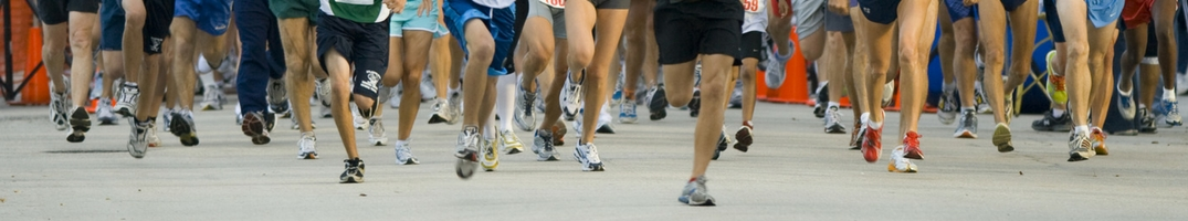 Contestants in a race running