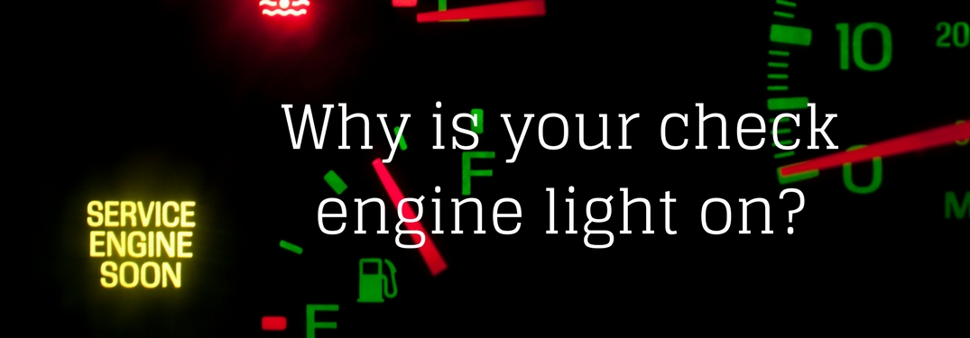 Dashboard closeup with a service engine soon light on next to text reading why is your check engine light on?