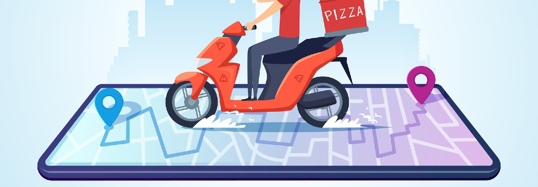 Graphic with a pizza delivery man on a moped on top of a smartphone with destination icons