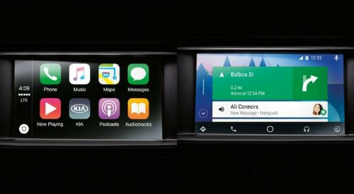 2018 Kia Infotainment center screens displaying Apple CarPlay and Android Auto