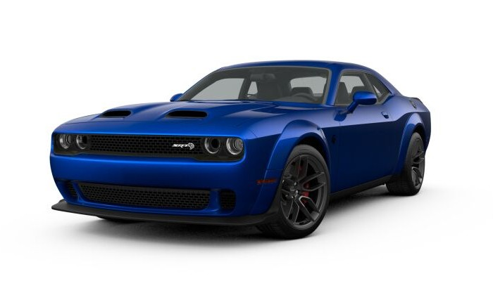 Front driver angle of the 2019 Dodge Challenger in IndiGo Blue color
