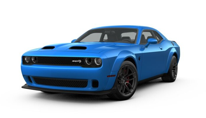 Front driver angle of the 2019 Dodge Challenger in B5 Blue color