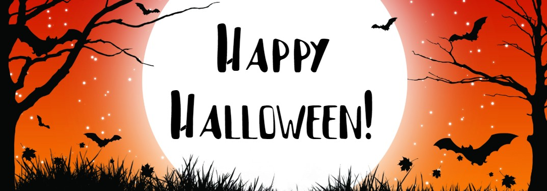 """Orange Halloween graphic with black trees and bats with the text """"Happy Halloween!"""""""