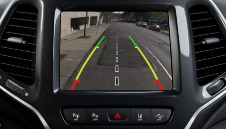 Close up view of the rear view camera inside the 2020 Jeep Cherokee