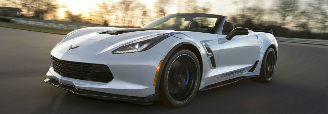 Chevy Corvette driving on a track
