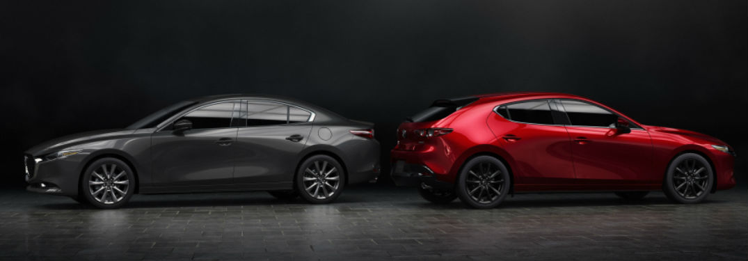 Mazda3 hatchback and sedan parked next to each other
