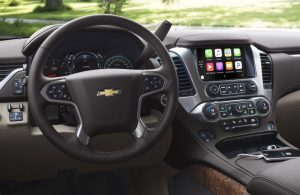 Chevy Suburban dashboard features and steering wheel