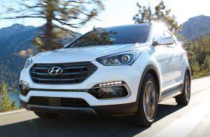Hyundai Santa Fe driving on a highway