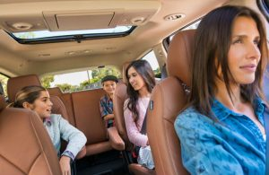Chevy Traverse interior with children in the back seats