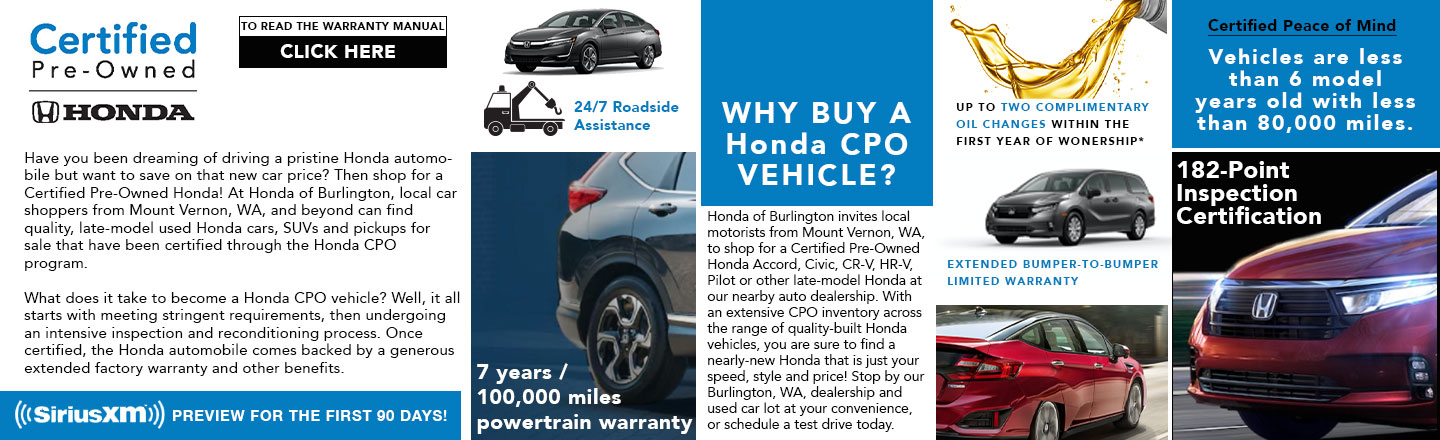 Shop Honda Certified Pre-Owned Cars for Sale in Burlington, WA