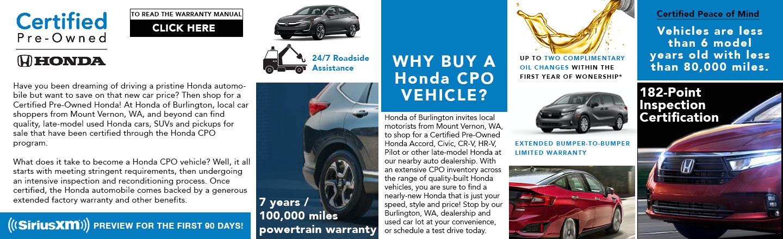 Shop Honda Certified Pre-Owned Cars for Sale in Burlington, WA