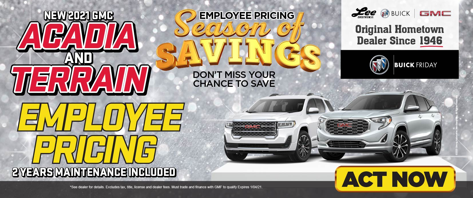 Acadia and Terrain Employee Pricing