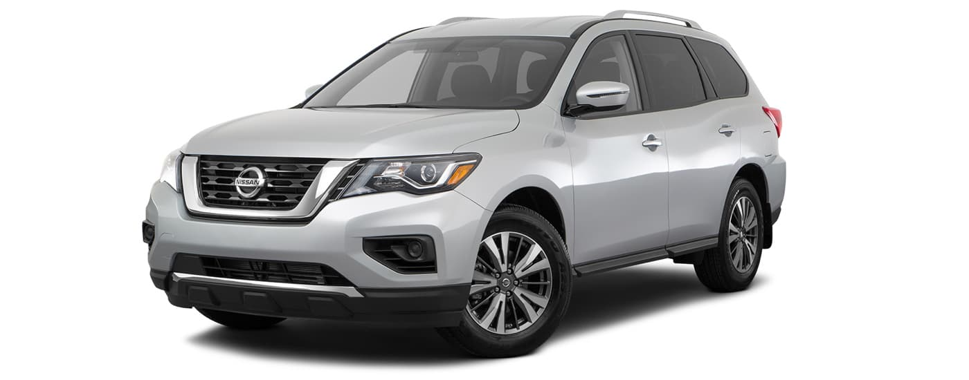 A silver 2021 Nissan Pathfinder S is angled left on a white background.