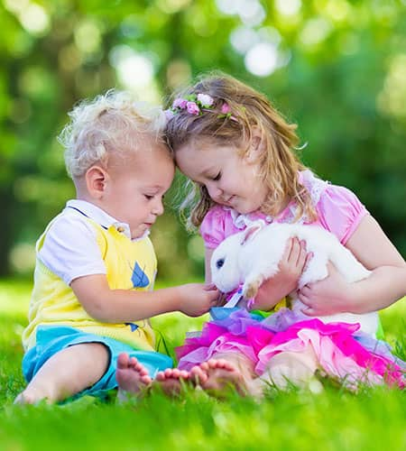 girl and boy children playing with white bunny