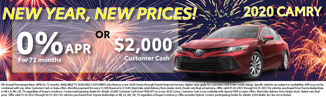 2020 Camry January Offer 0% apr or $2,000 customer cash