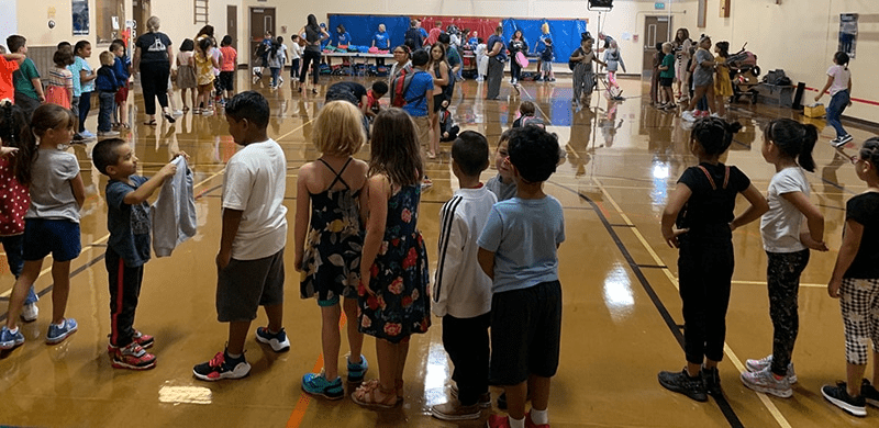 Kids in line at school gym