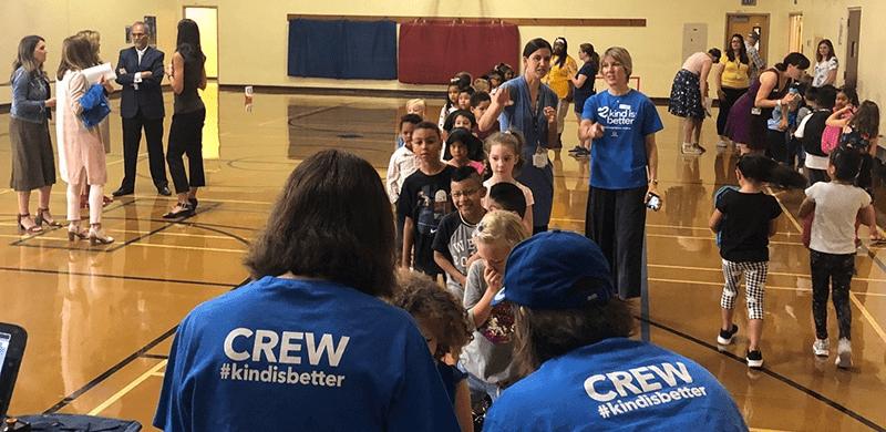 Crew #kindisbetter kids in line