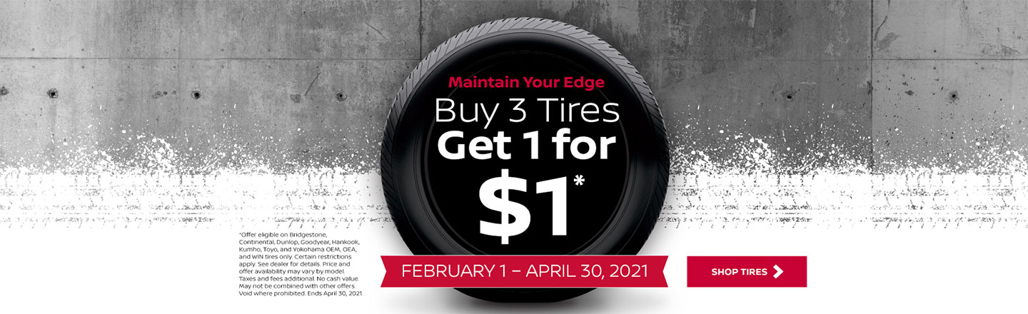 Buy 3 Tires Get the 4th for $1.00