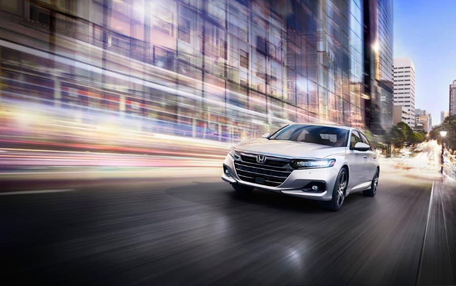 2021 Silver Honda Accord Touring Driving on Road