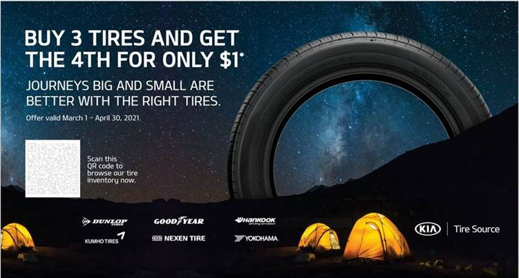 Buy 3 Tires and Get the 4th for $1*