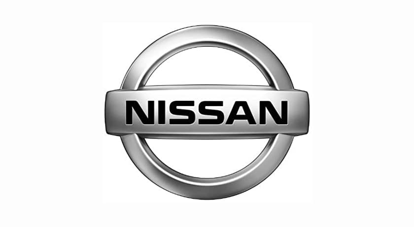 The Nissan emblem is shown on a white background.