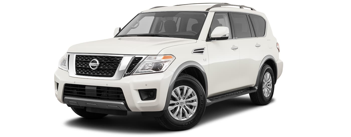 A white 2021 Nissan Armada is angled left on a white background.