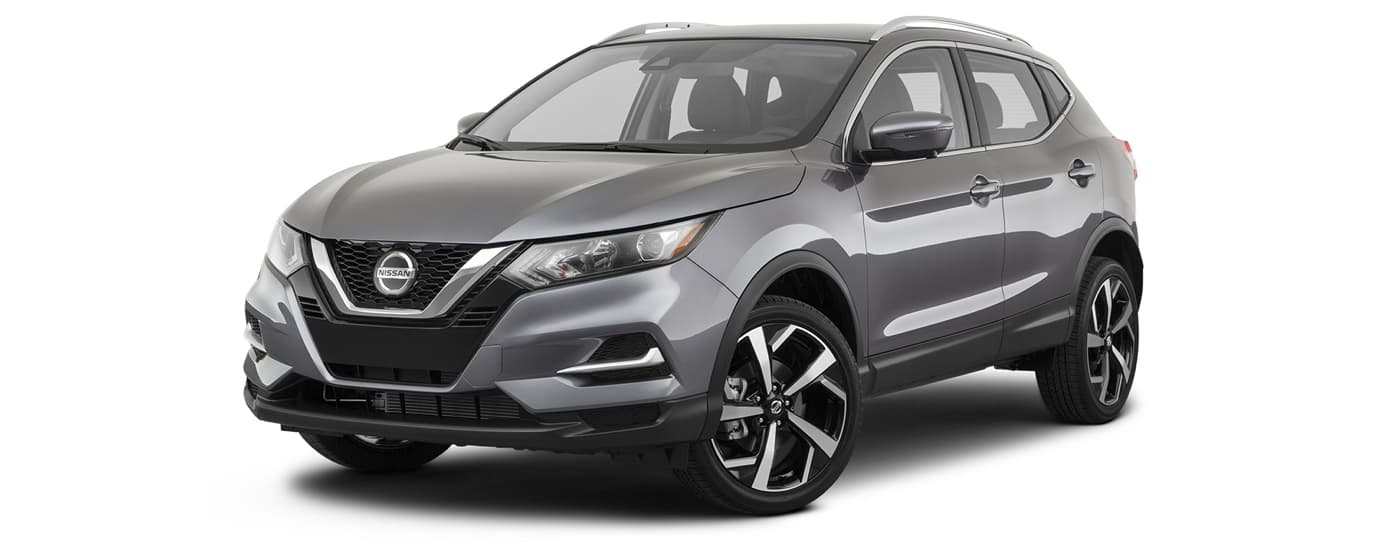 A grey 2021 Nissan Rogue Sport is angled left.