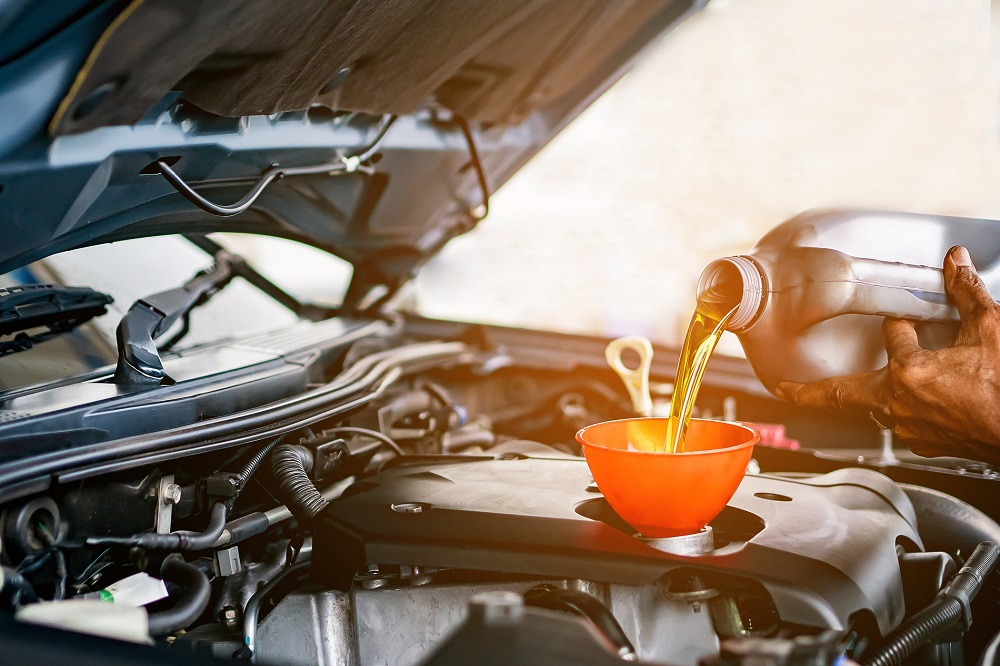 Engine Oil Change at Service Center