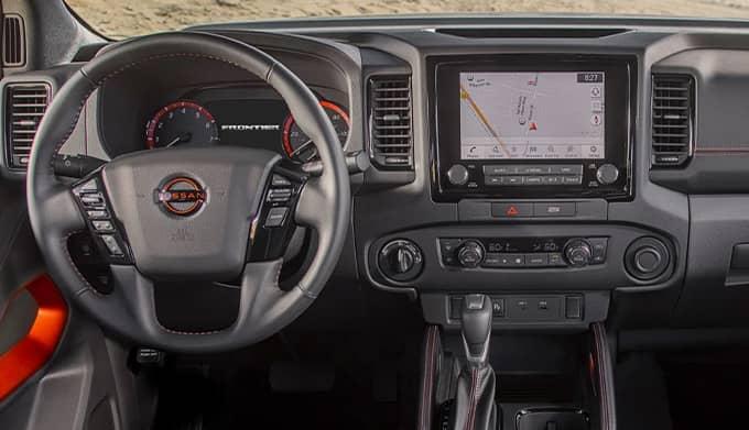 Interior Dash of a 2022 Nissan Frontier