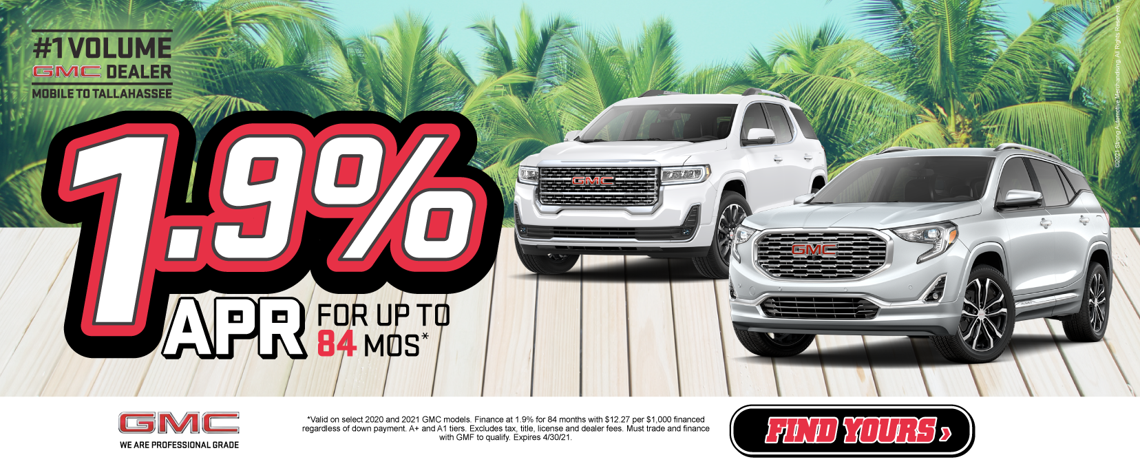 GMC 1.9% APR for up to 84 months