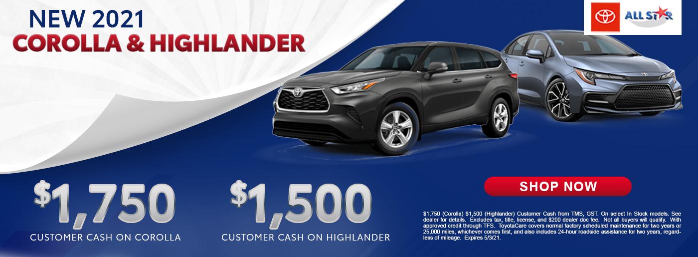 2020 Toyota Highlander & Corolla