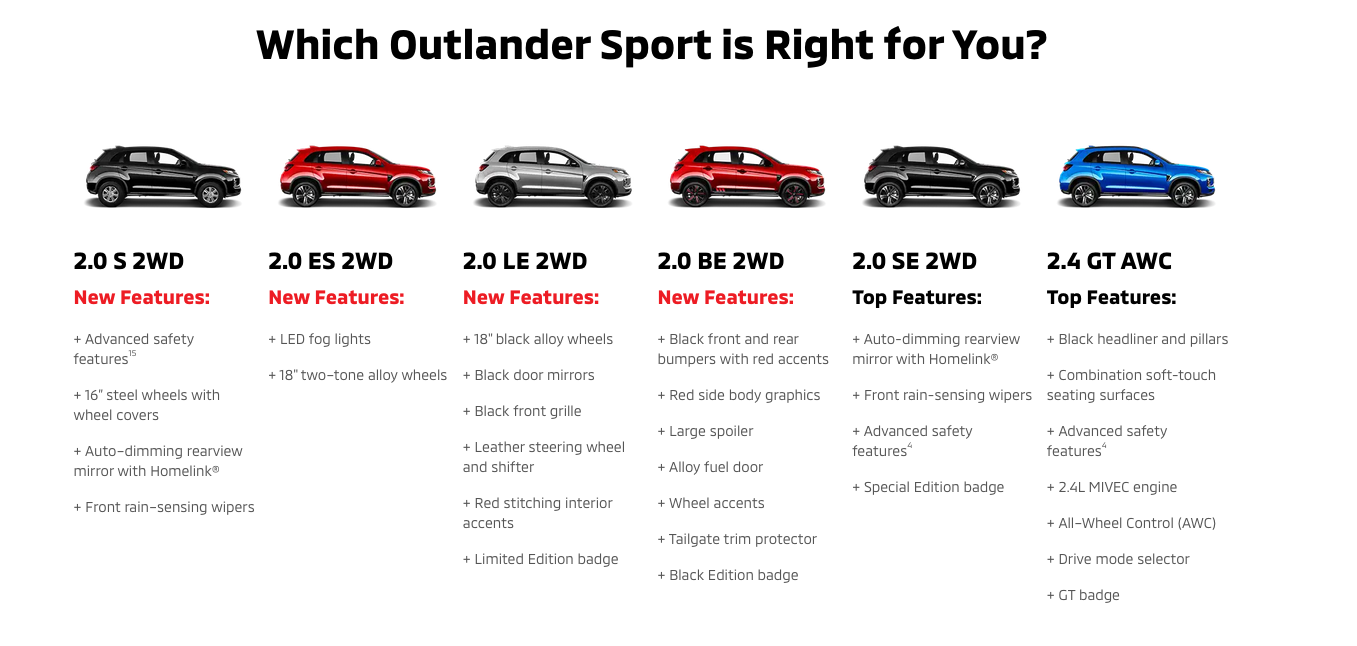 Find out which Outlander Sport is right for you