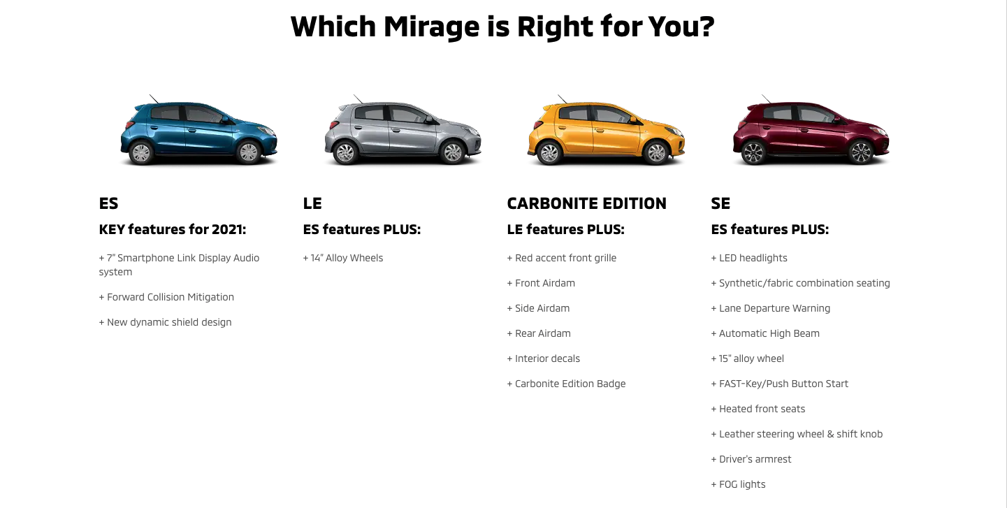 Find out which Mirage is right for you