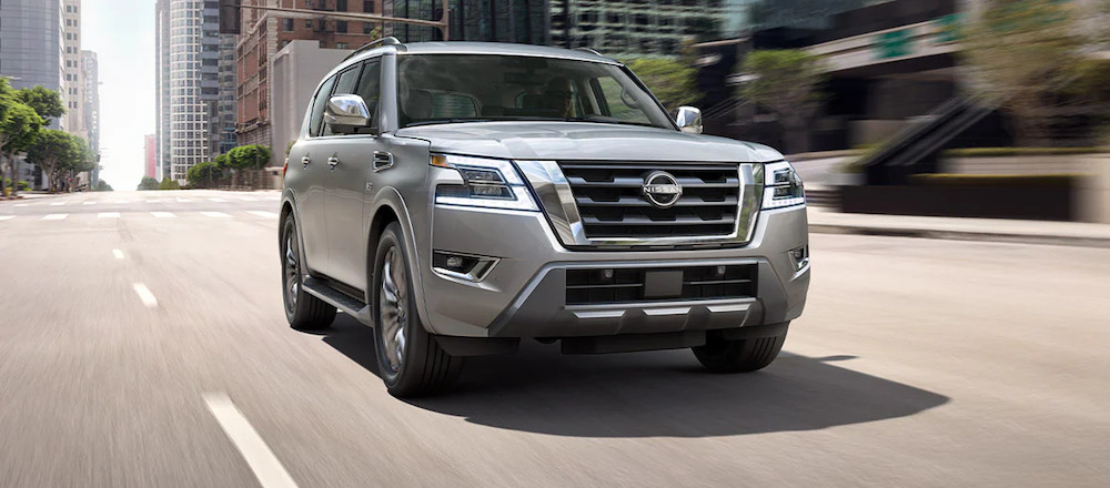 2021 Nissan Armada Silver Front Angle Grill