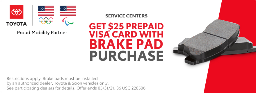 Get a $25 prepaid VISA card with brake pad pu