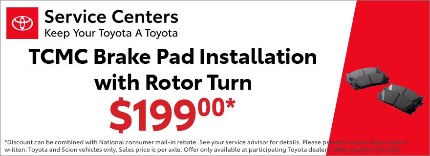 TCMC Brake Pad Installation with Rotor Turn $