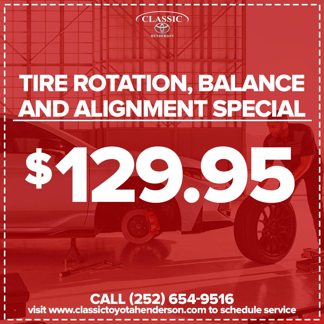 Tire Rotation, Rebalance and Alignment