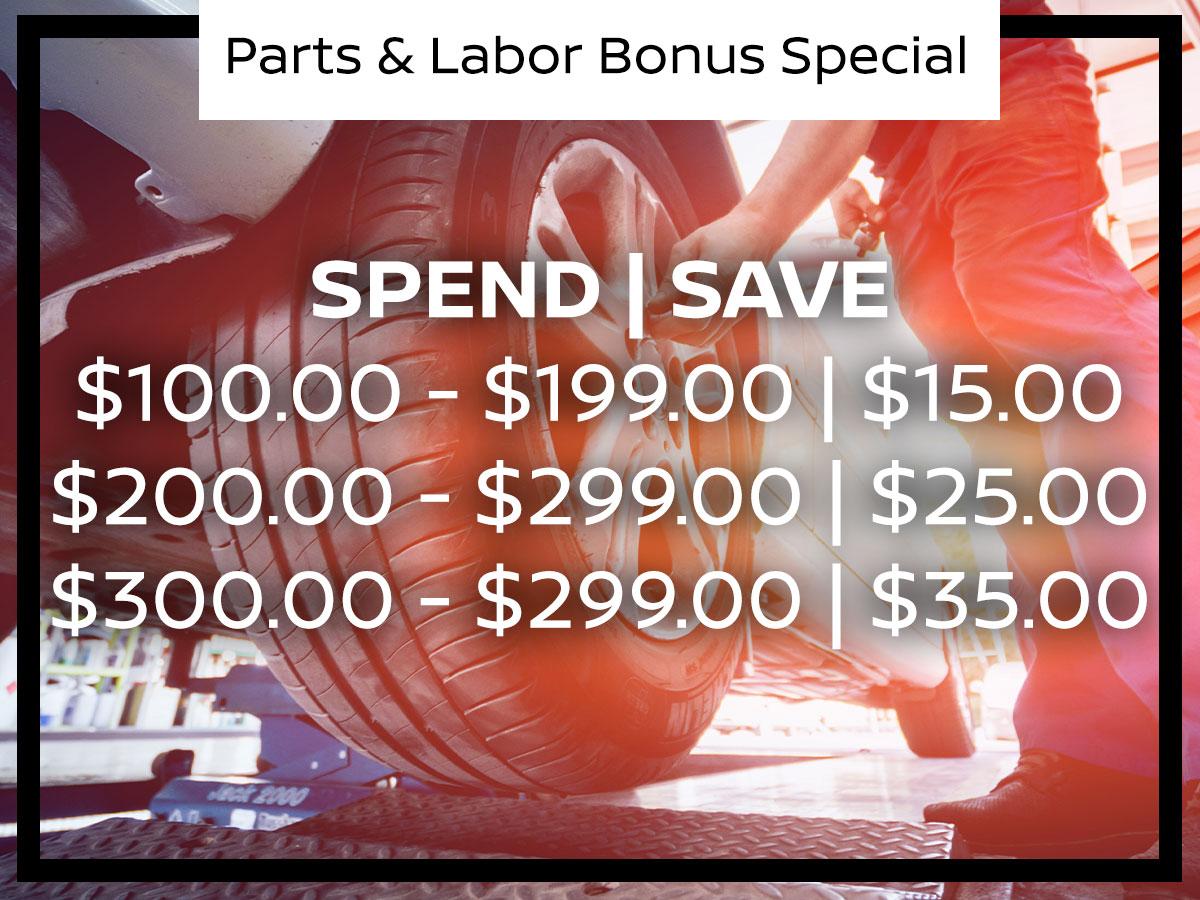 Parts & Labor Bonus Spend