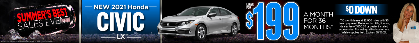 2021 Honda Civic - Lease for $199 a month