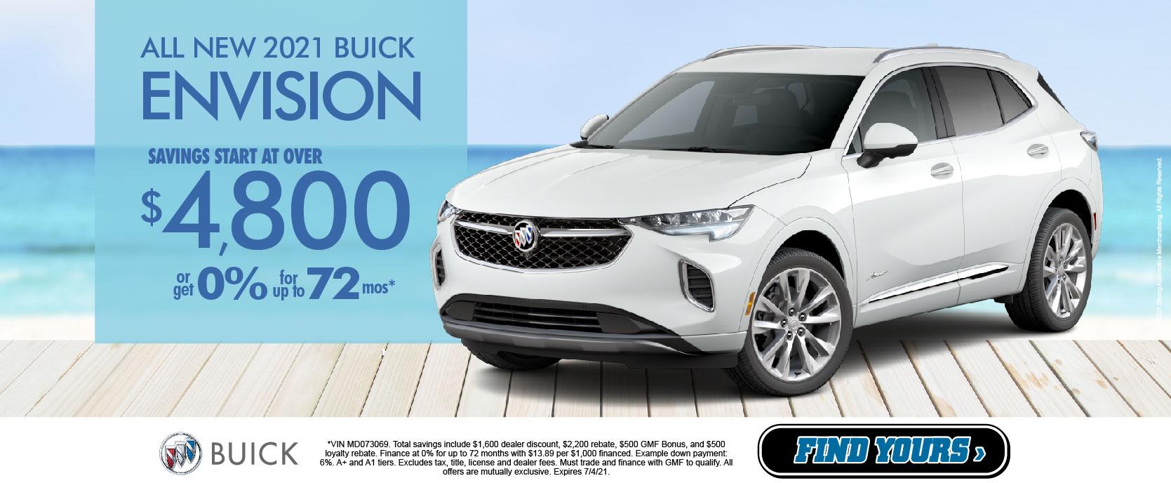 2021 Buick Envision Savings start at $4,800