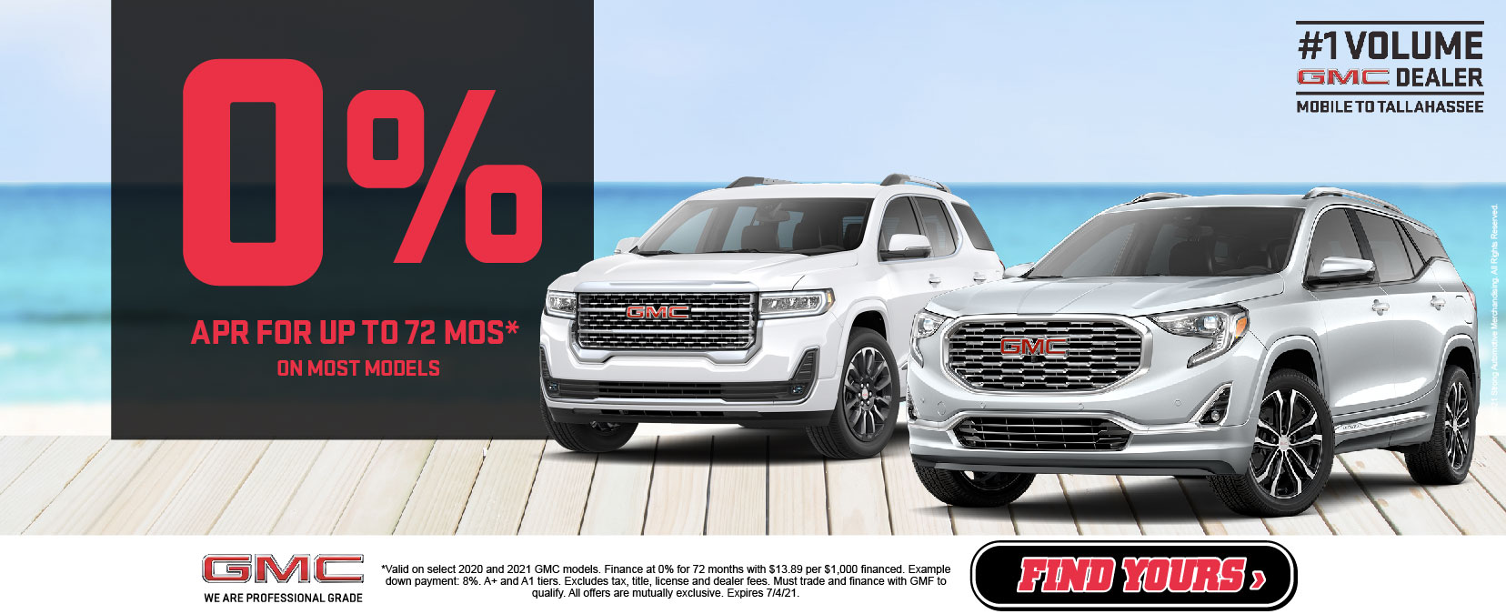 GMC 0% APR for up to 72 months