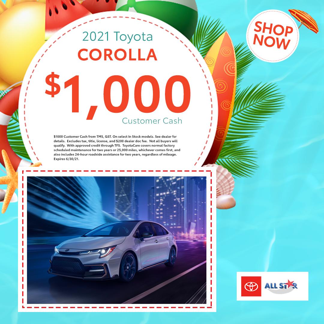 $1000 2021 Toyota Corolla
